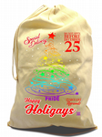 X-Large Cotton Drawcord LGBT Christmas Santa Sack Gift Bag & Gay Pride Christmas Tree Rainbow Motif